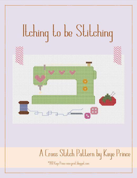 Itching to be Stitching - A Cross Stitch Pattern by Kaye Prince of Miss Print. $4.95, via Etsy.