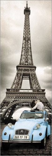 """Paris - Romance."" Romantic couple and their Citroen 2CV  in front of the Eiffel Tower."