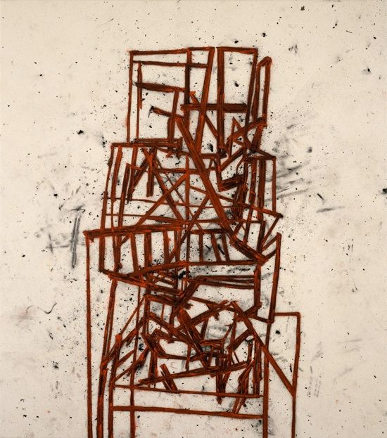 Tony Bevan,  Studio Furniture, 2003,  Charcoal and Acrylic on Canvas, 180cm x 159cm