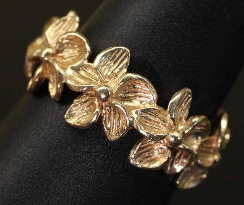Plumeria Lei Endless Love 14k Gold Tropical Hawaii Flower Eternity Band Ring   eBay