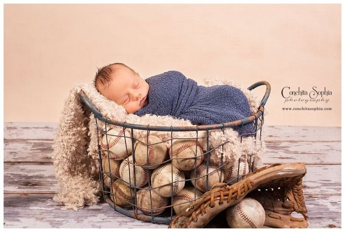 Baseball themed newborn boy portraits by Conchita Sophia Photography in Puyallup, WA