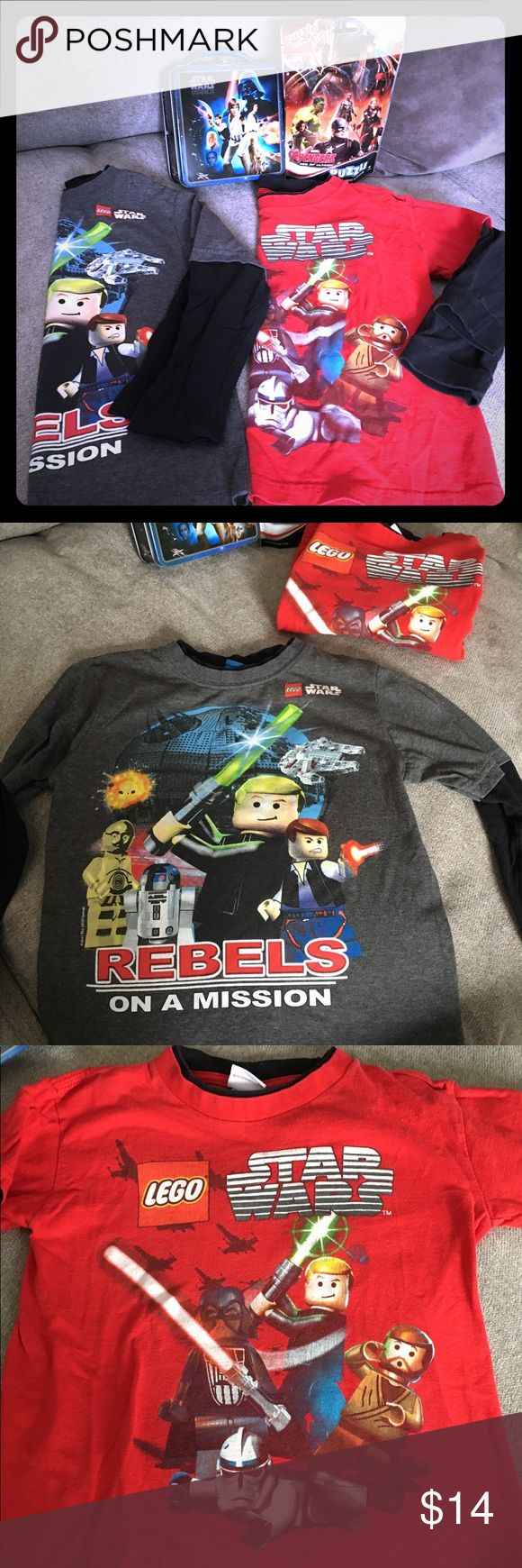 "⭐️ Star Wars bundle⭐️ plus an Avengers puzzle Two long sleeved Star Wars tees size 5/6. Good condition however see last picture. Just noticed one of the cuffs has come unraveled, could easily be stitched up though. One carry all Star Wars tin 5.75x2.5x5.75"" and a 100 piece Avengers puzzle Star Wars Shirts & Tops Tees - Long Sleeve"