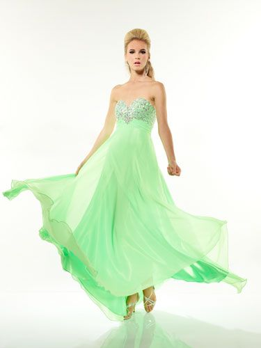 Bright Seafoam-Green Dress With Sparkly, Sweetheart Neckline