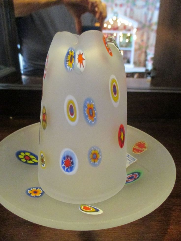 Vintage Murano frosted glass fairy lamp light millefiori glass