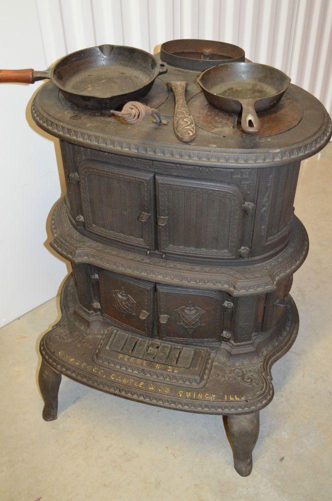 Details About Antique Golden Oak Cast Iron Wood Burning