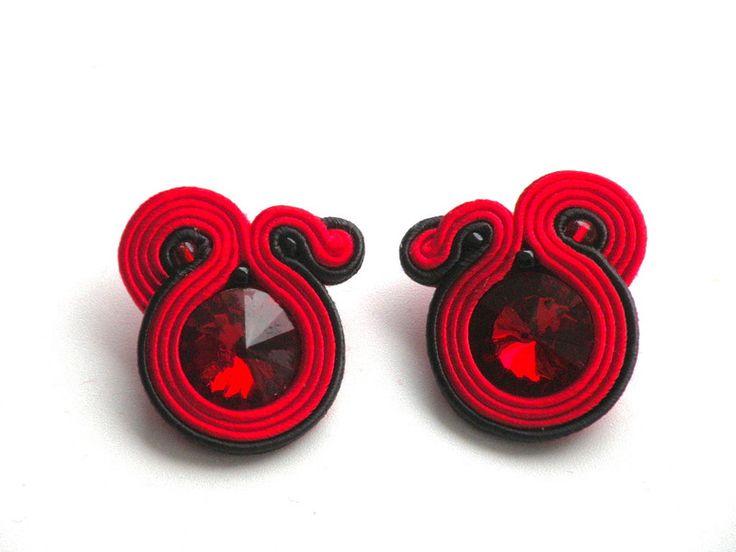 kolczyki sutasz sztyft Red&Black - Bajobongo - Kolczyki wiszące