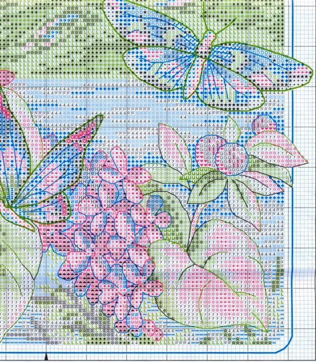 Cross-stitch Wonderous Butterflies, part 7... color charts on parts 8, 9 & 10