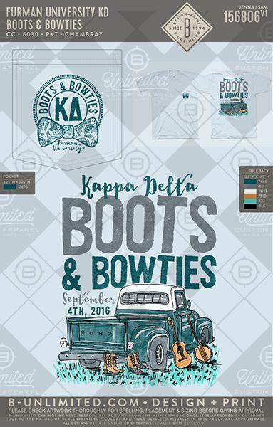 Furman University KD Boots & Bowties #BUnlimited #BUonYOU #CustomGreekApparel #GreekTShirts #Fraternity #Sorority #GreekLife #TShirts #Tanks #TShirtIdeas #KappaDelta #KD #Boots&Bowties #Truck #Function #Mixer #Exchange