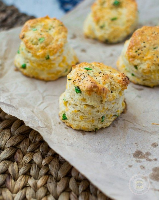 Garlic Cheddar and Chive Scones on sheet