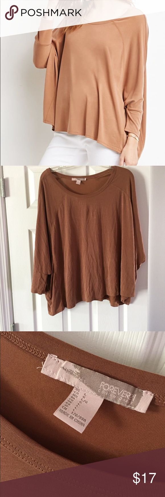 Batwing dolman women's Top blouse wide sleeve New. Boatneck dolman Sleeve Top in camel with 3/4 Sleeve. Forever 21 Tops Blouses