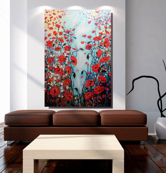 lona de arte amapolas rojas pared extra grande original de arte abstracto pintura arte arte de