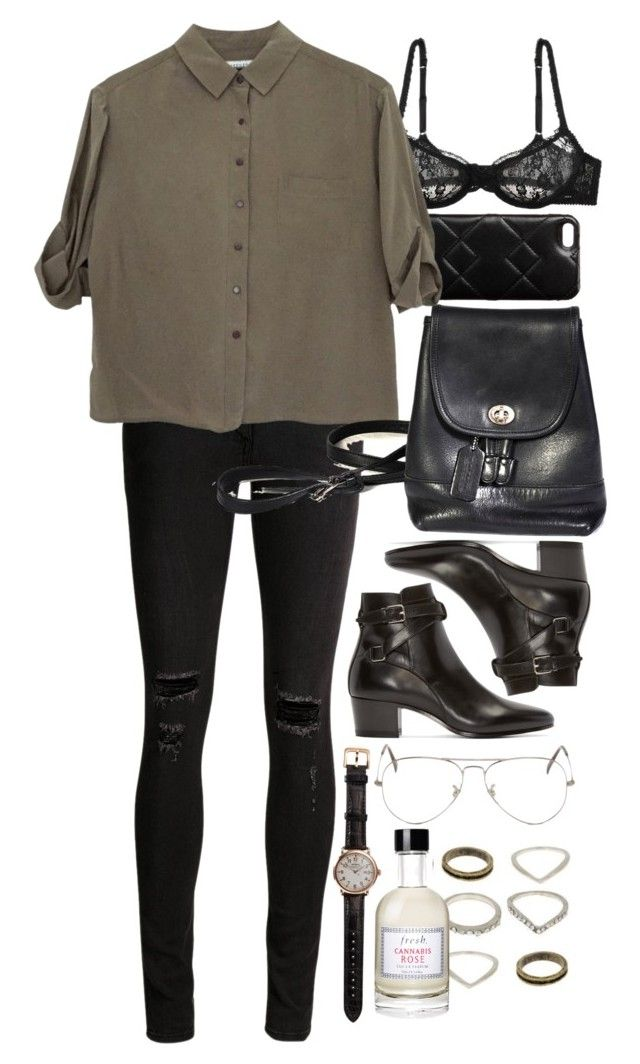 """""""Untitled #8743"""" by nikka-phillips ❤ liked on Polyvore featuring Marc by Marc Jacobs, L'Agent By Agent Provocateur, rag & bone/JEAN, Jaeger, Yves Saint Laurent, Shinola, Fresh and Ray-Ban"""