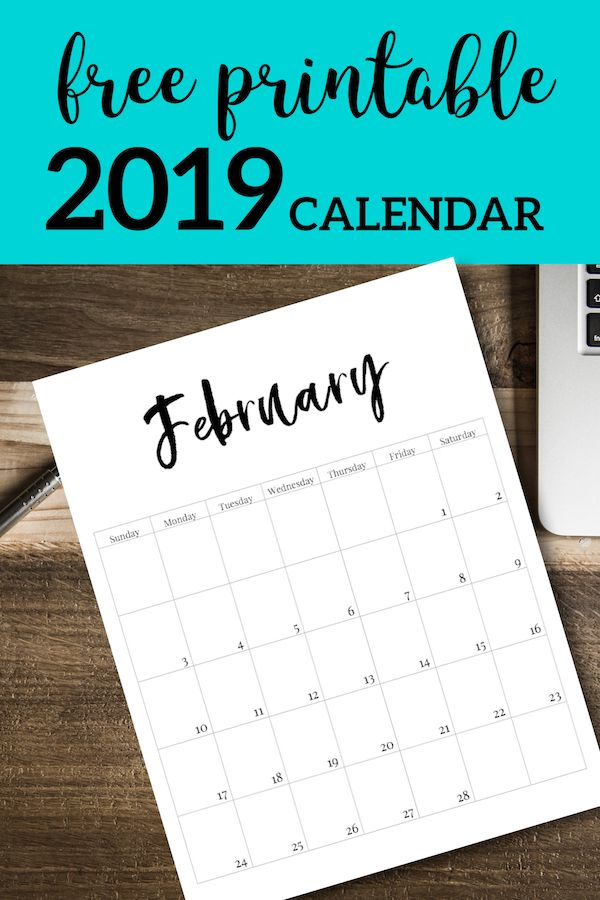 Free Printable 2019 Calendar Template Pages Vinyl projects