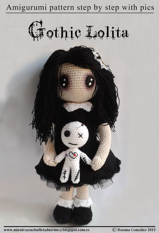 GOTHIC LOLITA PATTERN WITH AMIGURUMI voodoo doll | Cuchufleta While Sleeping