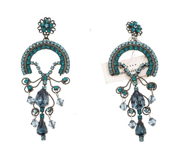 Chandelier earrings with blue Swarovski strasses, by Art Wear Dimitriadis