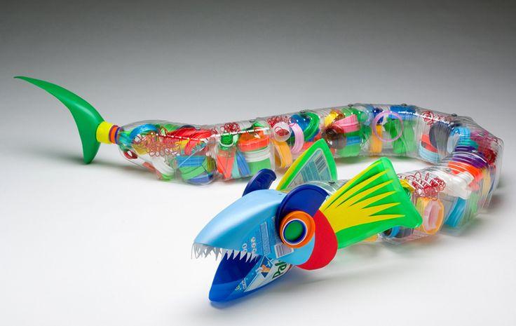 Plastiquarium: recycled plastic art