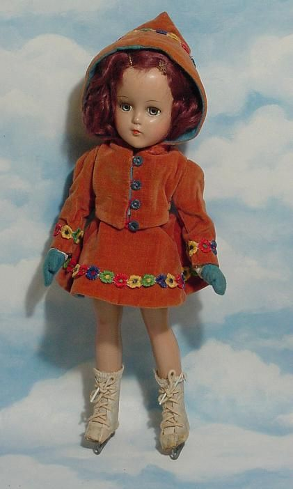 """Arranbee composition ice skater doll.  Just Beautiful!!  Looks just like a """"wardrobe"""" doll I had when I was 5!!  By Effenbee."""