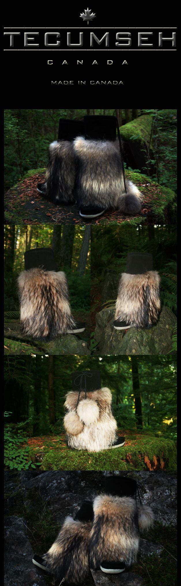 Sha pä ta' - Luxurious Raccoon Fur, Suede Mukluks By Tecumseh
