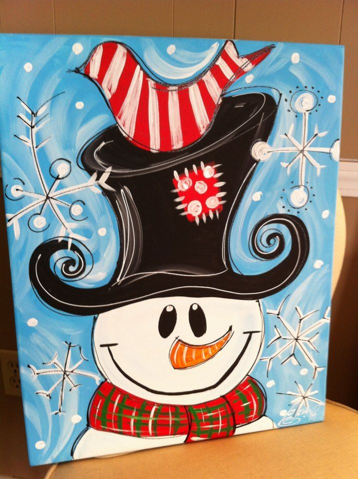 Snowman/chalkboard art We could totally paint this!!