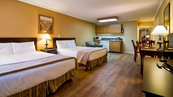 2 queen studio kitchen suite @ Kelowna Inn & Suites.  1.800.667.6133 www.KelownaInnandSuites.com