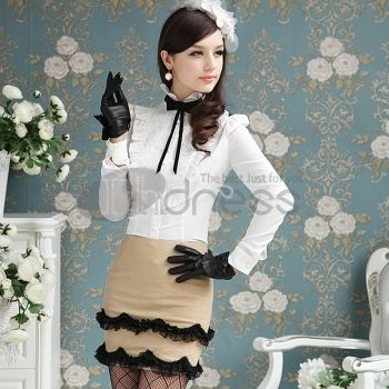 Women's Clothing-White lace flounced long-sleeved blouses
