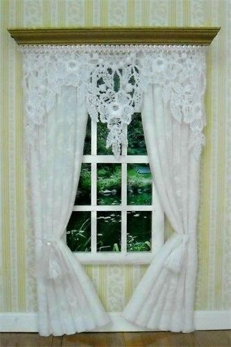 Dollhouse Curtain ~ White Lace Curtains Drapes