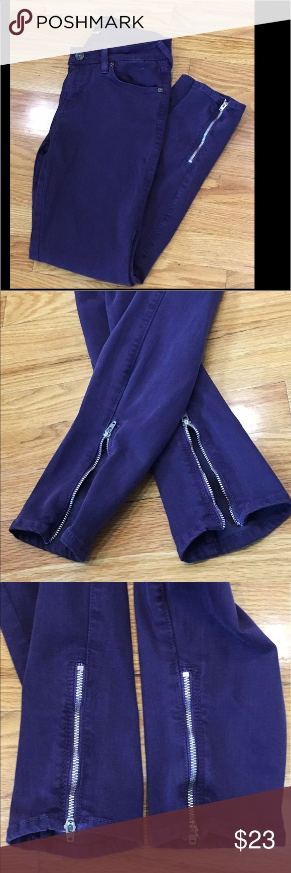 """Skinny Jeans Plum Skinny Jeans by Just Black. Size 27. Silver zippers on both sides at bottom. Clean with no stains or holes. Super comfy to wear. 32 percent cotton/42 lyocell/15 rayon/8 polyester/3 spandex. Inseam is 26"""". Just Black  Jeans Skinny"""