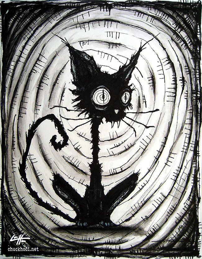 Print 8×10″ – Black Cat 3 – Halloween Cats Stray Spooky Alley Dark Art Pets Cute Animal Creepy Gothic Art Black and White Kitty