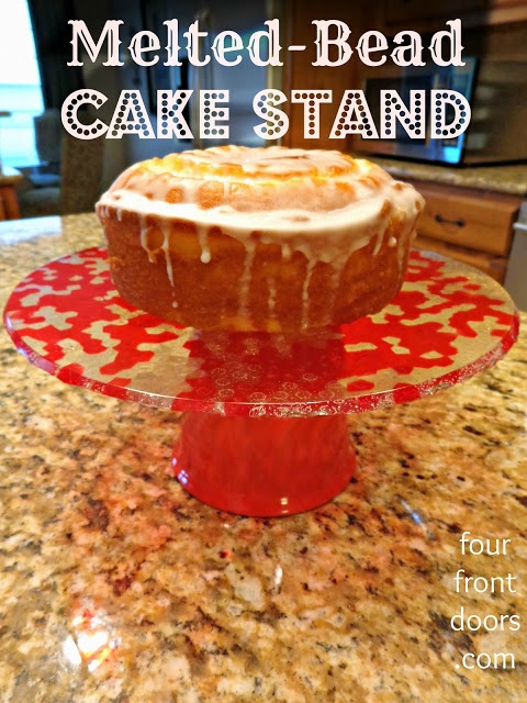 Cute Cake Stand Made from Melted Beads...Oh, the possibilities! -- FourFrontDoors.com