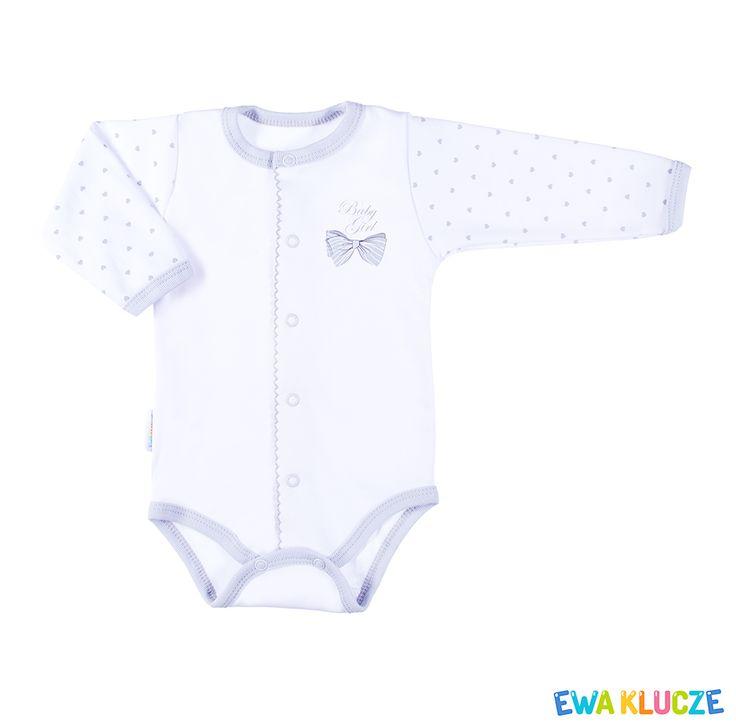 EWA KLUCZE, kolekcja CLASSIC BABY, szare body dla dziewczynki, ubranka dla dzieci, EWA KLUCZE, CLASSIC BABY collection, grey baby girl bodysuit, baby clothes