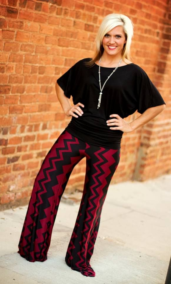 Burgundy/Black Chevron Palazzo Pants.  Sizes S, M, L, XL, 2X, 3X.  Runs small.  Great for Gameday.  Go USC Gamecocks!  Available at 105 West Boutique in Abbeville, SC.  (864) 366-WEST.  Shipping $5.