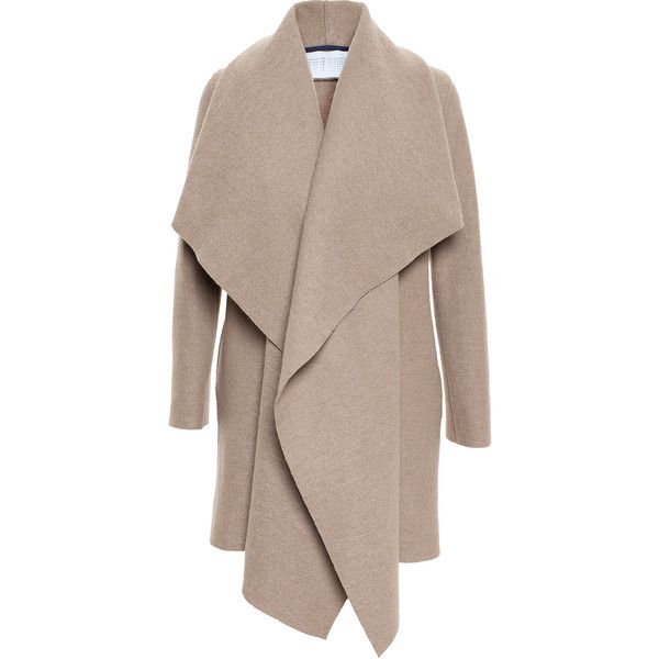 Harris Wharf Draped Wool Over-Coat found on Polyvore featuring outerwear, coats, jackets, coats & jackets, cardigans, wool overcoat, over coat, shawl collar wool coat, wool coat and tie belt