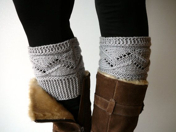 Clair gris botte tricot chaussettes botte aux par craftasta sur Etsy