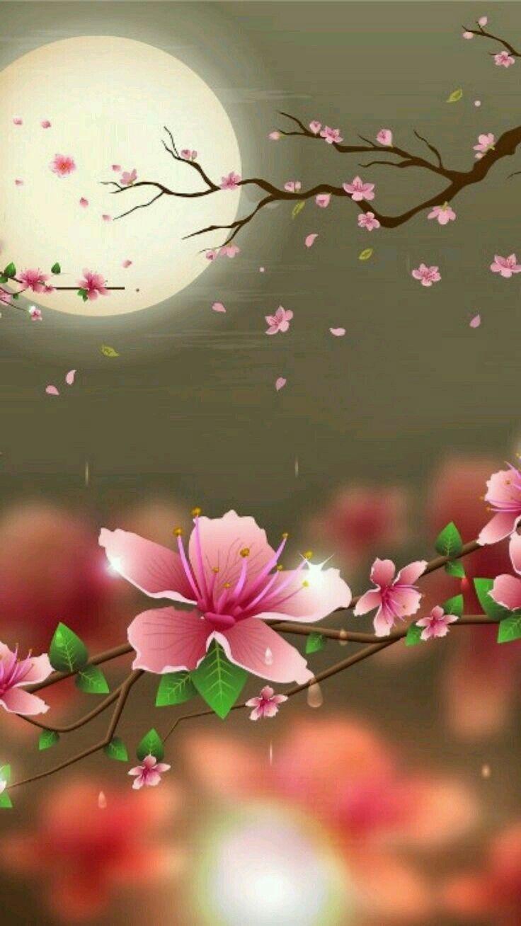 Cerisiers du Japon | Papier peint d'art, Vidéos de peinture, Fond d'écran papillon