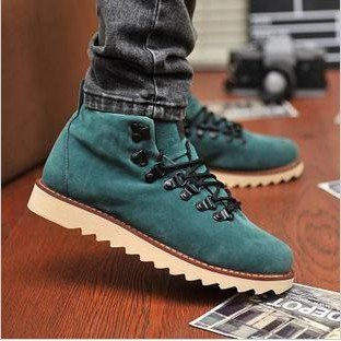 Autumn men's trend martin boots fashion leather boots high top ...