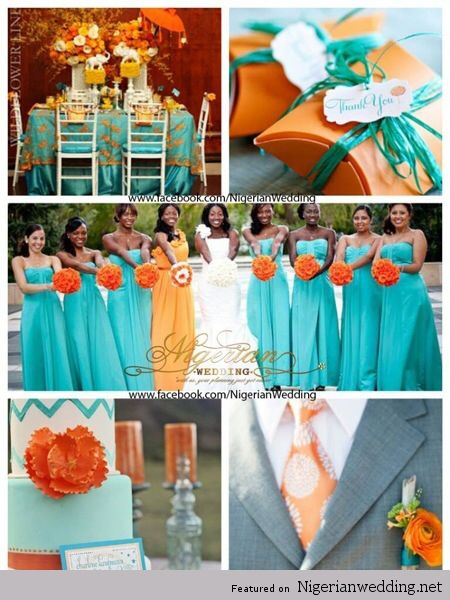Orange And Aqua: Turquoise Fuschia And Orange Wedding Colors