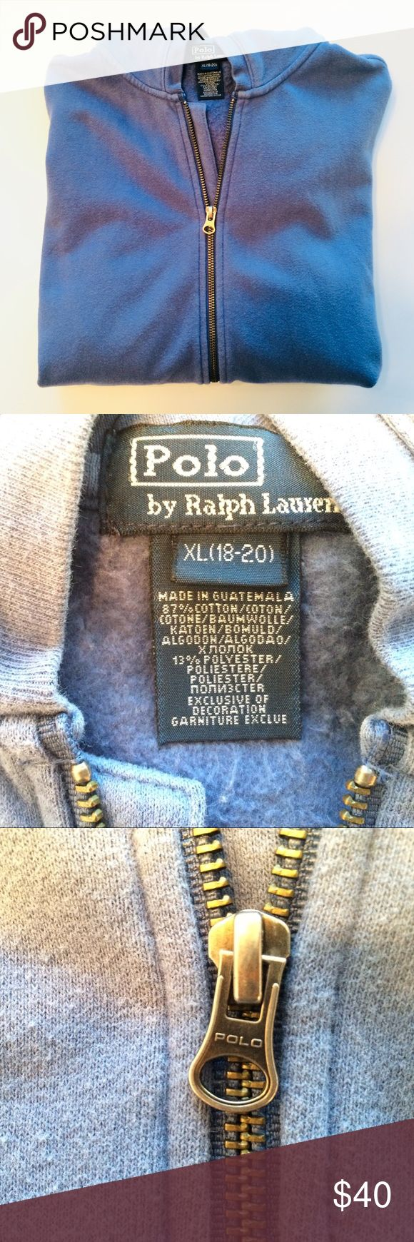 Polo Ralph Lauren Zipper Hoodie - Size XL (18-20) Polo Ralph Lauren Zipper Hoodie - Size XL (18-20). I am assuming that this is a ladies hoodie because of the size including (18-20). Great condition. Worn and laundered many times. No rips, no stains, no tears. Zipper works great. Love this color - sort of like wedgwood blue. Polo by Ralph Lauren Tops Sweatshirts & Hoodies