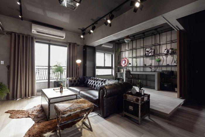 interior en colores oscuros cocina abierta al saln cocinas baratas modernas en estilo industrial - Cocinas Modernas Baratas