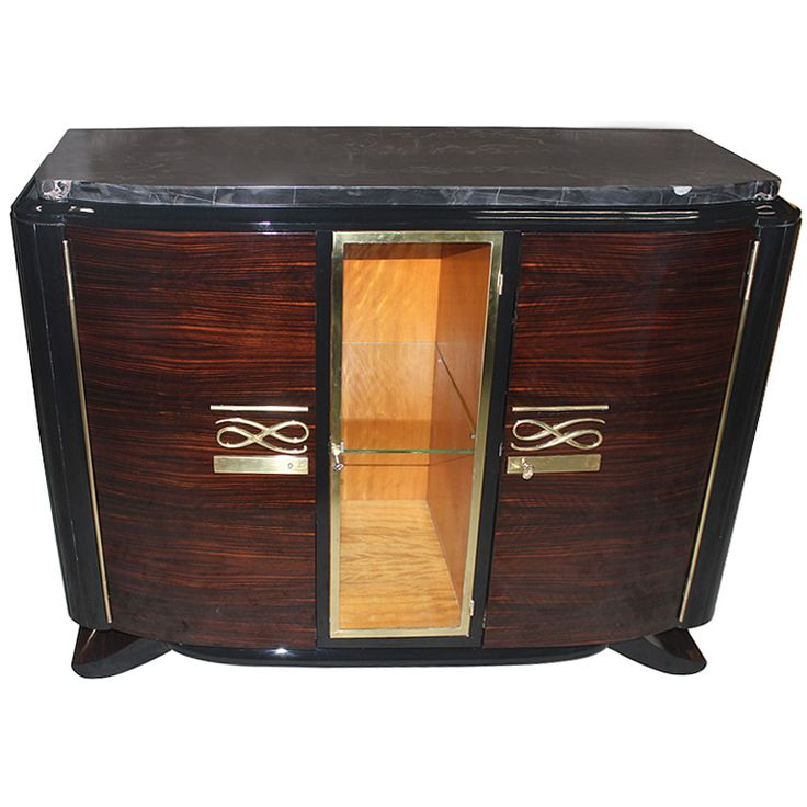 french art deco exotic macassar ebony buffet vitrine