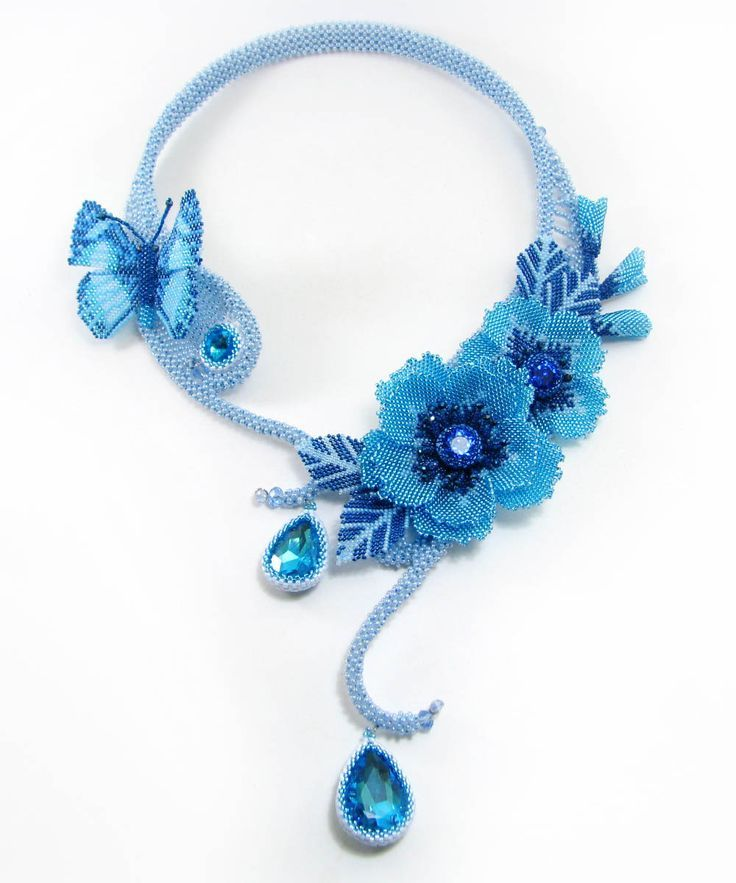 Breath of Butterfly Beaded Necklace by Svetlana Paranina featured in recent Bead-Patterns.com Newsletter