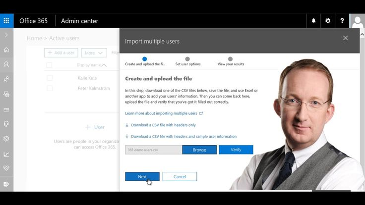 *Office 365 from Scratch – Import Users from CSV* Import a group of users in a CSV file to Office 365. In this demo in the Office 365 from Scratch series Peter Kalmström, explains how to do it. Also refer to http://kalmstrom.com/Tips/Office-365-Course/Import-Users-CSV.htm