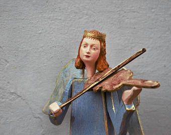 Angel carved ,Angelo con corona scultura in legno