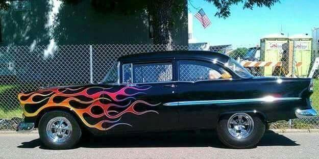 1955 Chevrolet 2 door sedan with flames.