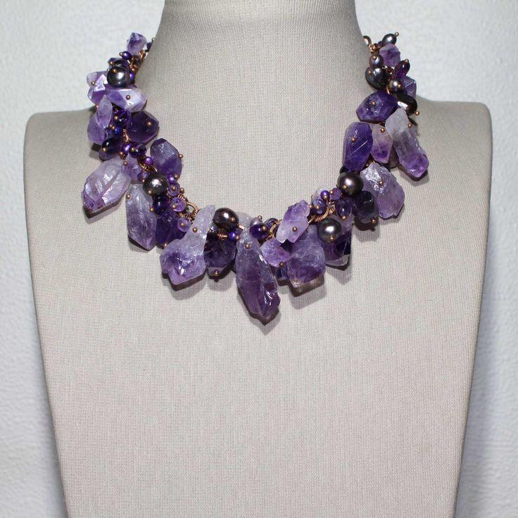 Шикарное ожерелье из натурального аметиста