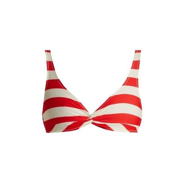 Solid & Striped The Jane striped bikini top (1.190.640 IDR) ❤ liked on Polyvore featuring swimwear, bikinis, bikini tops, red stripe, red tankini top, red bikinis, red bikini top, red stripe bikini and red swimsuit top
