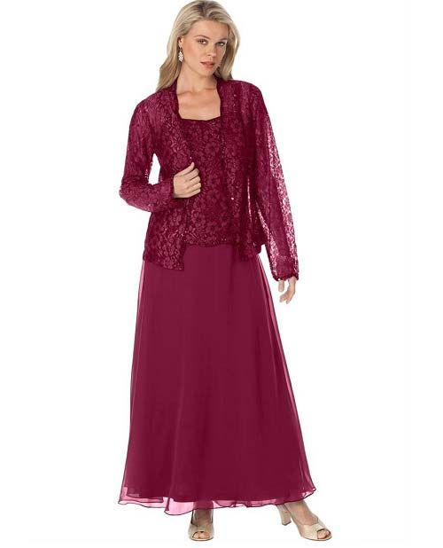 Lovely Plus Size Burgundy Mother Of The Bride Dress With