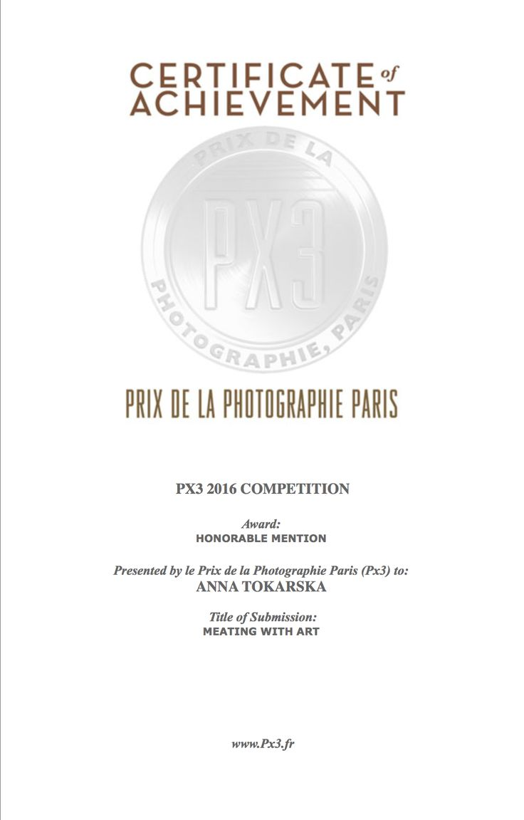 """PX3 Prix de la Photographie Paris 2016 Honorable Mention in category for proffesionals for series """"Meating with art"""" """"Meating with art""""  ANNA TOKARSKA PHOTOGRAPHY ⓒ"""