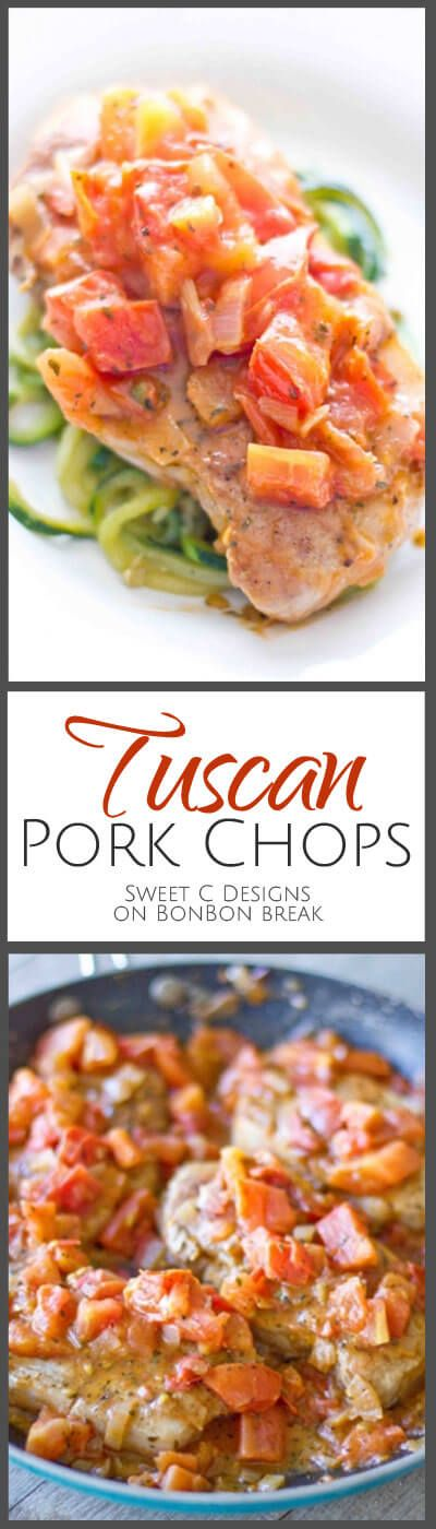 One Pan Tuscan Pork Chops are a delicious, easy dish your whole family will love - and won't cost you your diet goals. These are delicious plated with zucchini noodles as pictured, but if you're not following a paleo diet, it is very tasty served on a bed of pasta - or even quinoa.