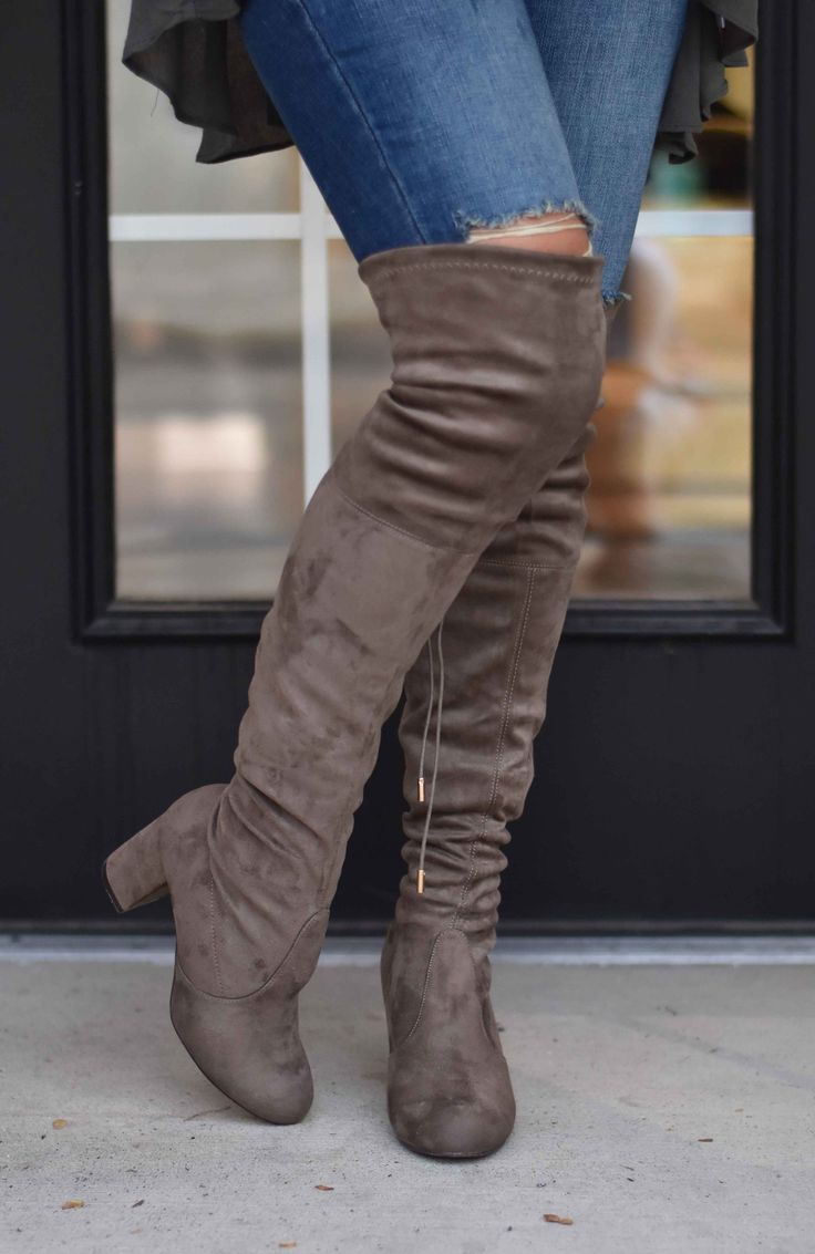Taupe Suede Over The Knee Boots