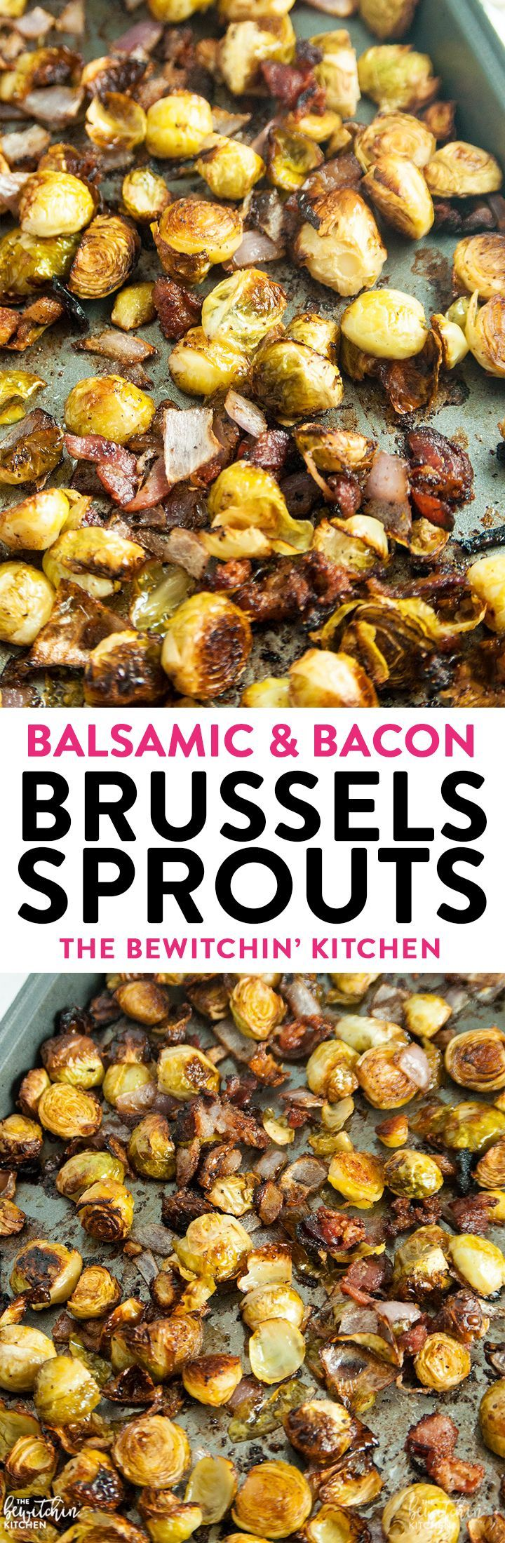 Balsamic Bacon Brussels Sprouts - this brussel sprouts healthy side dish is an easy one pan recipe that goes great with chicken, steak or Christmas dinner.  via @RandaDerkson